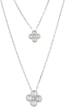 Flower Clover Double Layered Pendant Necklace Silver