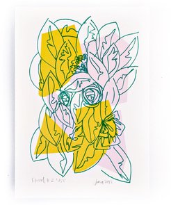 Pink Yellow Floral Limited Edition Screen Print