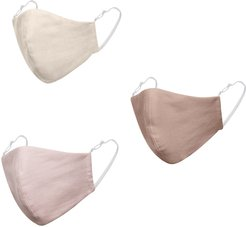 Pack Of 3 Pastel Linen Cotton Face Masks With Filter Pocket