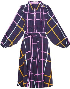Heves Gathered Shirt Dress - Checked