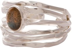 Silver Nest Ring with Labradorite
