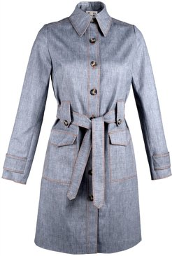Single Breasted Denim Trench Coat