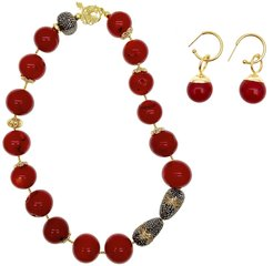 Nugget Red Bamboo Necklace & Earrings Christmas Gift Set