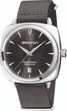 Briston Clubmaster Iconic Automatic Polished Steel, Sunray Silver Grey Dial With Grey Nato Strap