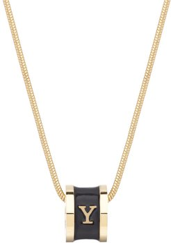 Initial Y Necklace 18Ct Gold Plated With Black Enamel