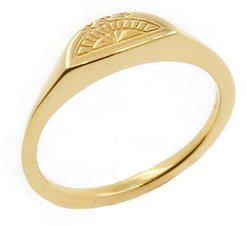 Solid Gold Moon Signet Ring
