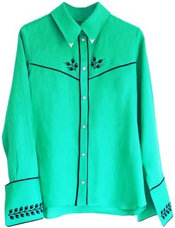 Embroidered Cowboy Shirt Jade Green