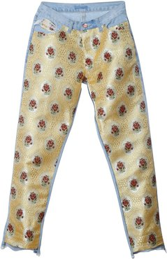 Two-Face Upcycled Denim & Brocade Pants In Yellow
