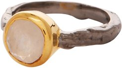 Moonstone Gold and Silver Mix Ring