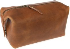 Deluxe Tan Leather Wash Bag