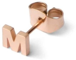 18Ct Rose Gold Plated Little Letter M Earring