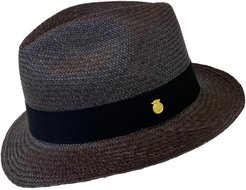 Handwoven Straw Authentic Panama Hat Fedora Black/Charcoal