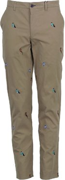 Charles Pant In Khaki Birds Embroidery