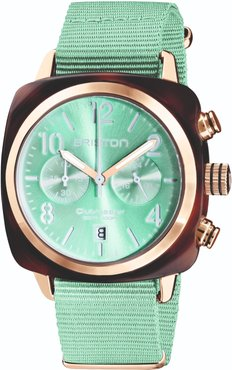 Briston Clubmaster Classic Chronograph Tortoise Shell Acetate, Sunray Green Water Dial And Rose Gold