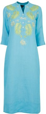 Palm Springs Embroidered Linen Maxi Turquoise