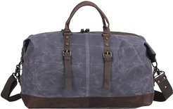 Worn Look Zip Detail Water Repellent Holdall In Hunter Grey