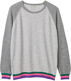 Carmen Grey Cashmere Jumper With Neon Stripes
