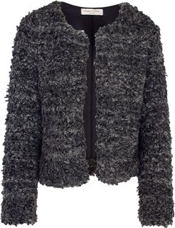 Wool Blend Cropped Jacket Anthracite