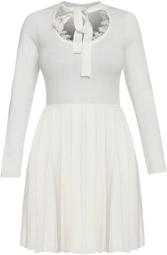 Knitted Dress With Lace Details & Pleated Skirt - White
