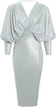 Ania Silver Plunge Front And Back Batwing Midi Dress