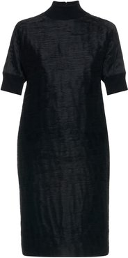 Dress With Ribbed Knit Neck & Sleeves