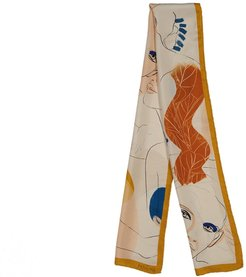 Yellow Mustard Printed Artistic Silk Long Scarf