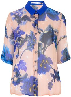 Mildred Shirt In Gothic Floral Blues Print