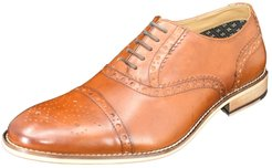 Curito Wantage Men's Smooth Leather Semi-Brogue Oxford Shoes - Tan