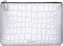 Silver Embossed Crocodile Leather Zip Clutch Port Louis Pouch