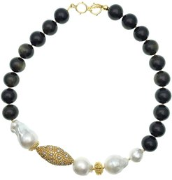 Black Tiger Eye With Baroque Pearl Short Necklace