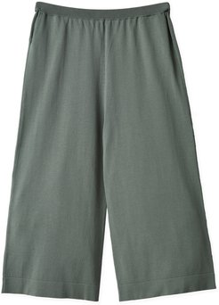 Joss Wide Knitted Green Mist Cotton Trousers