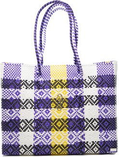 Purple Yellow Travel Tote With Clutch