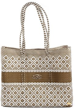 Gold Stripe Travel Tote Bag With Clutch