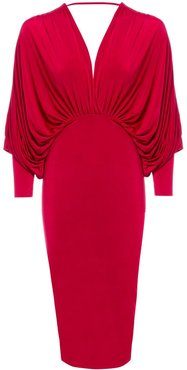 Lea Red Plunge Front and Back Batwing Midi Dress