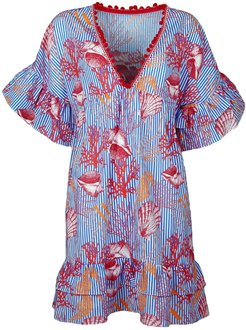 Cotton Beach Dress With Seashell & Coral Print