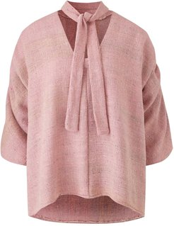 Maxine Silk Blouse With Neck Tie In Pink