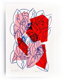Pink Red Floral Limited Edition Screen Print