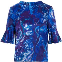 Reversible Rosie Silk Top In Ocean Water