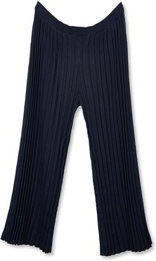 Cotton And Cashmere Knitted Pleat Trousers In Black Look