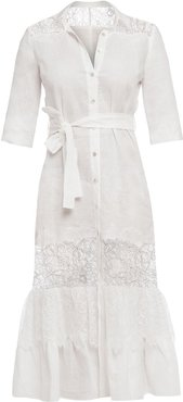 Romantic Linen Shirt Dress With Lace Inserts
