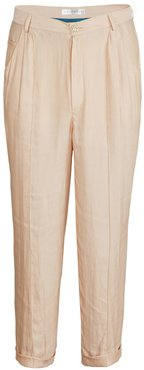 Nude Ankle High Silk Trousers