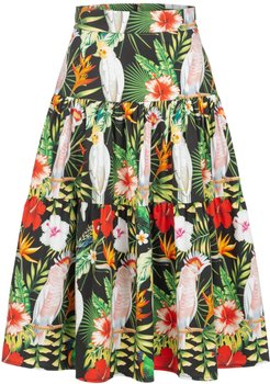 Midi Skirt With Parrots Print & Ruffles