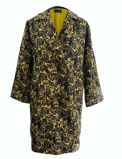 Oversized Cocoon Coat In Wool-Blend Vintage Jacquard Print