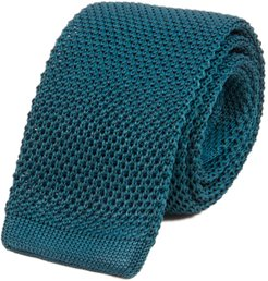 Petrol Blue Solid Silk Knitted Tie
