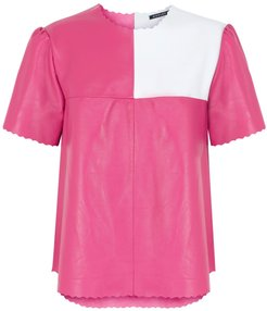 Boxter Leather Tee Pink & White