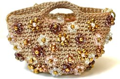 Small Gold Rose Bag with Flowers Jewel Embroidery