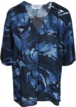 Printed Viscose Blouse With Front Pleat - Blue