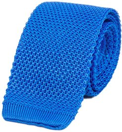 Turquoise Solid Silk Knitted Tie