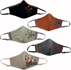 5 Pack Adjustable Triple Layer Cotton Face Masks - Nose Wire & Embroidery Details Fall Series 3