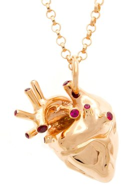 Heart Pendant Rose Gold With Rubies